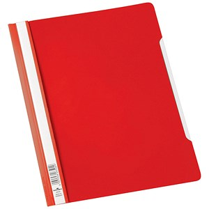 Image of Durable Clear View Folders with Index Strip / Extra Wide / Plastic / A4 / Red / Pack of 50
