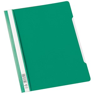 Image of Durable Clear View Folders with Index Strip / Extra Wide / Plastic / A4 / Green / Pack of 50