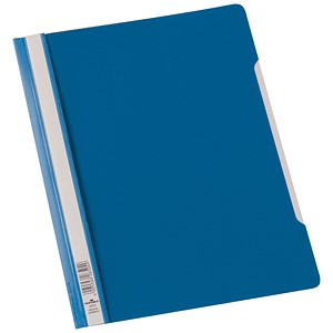 Image of Durable Clear View Folders with Index Strip / Extra Wide / Plastic / A4 / Blue / Pack of 50