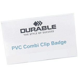 Image of Durable Name Badges / Combi Clip Pin or Clip / 54x90mm / Pack of 50