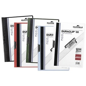 Image of Durable Duraclip Folders / PVC / Clear Front / 3mm Spine for 30 Sheets / A4 / Assorted / Pack of 25