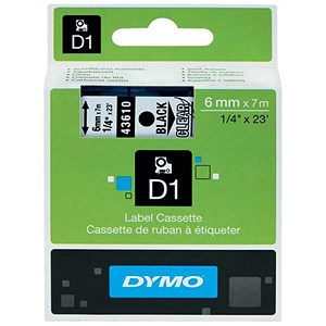 Image of Dymo D1 Tape for Electronic Labelmakers 6mmx7m Black on Clear Ref 43610 S0720770