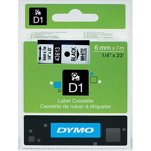 Image of Dymo D1 Tape for Electronic Labelmakers 6mmx7m Black on White Ref 43613 S0720780