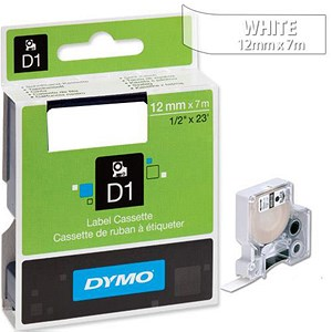 Image of Dymo D1 Tape for Electronic Labelmakers 12mmx7m White on Clear Ref 45020 S0720600