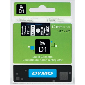 Image of Dymo D1 Tape for Electronic Labelmakers 12mmx7m White on Black Ref 45021 S0720610