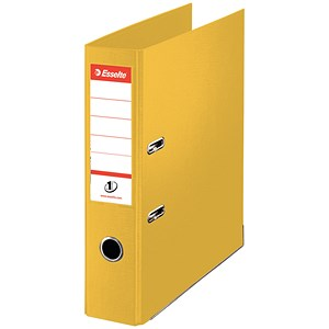 Image of Esselte No. 1 Power A4 Mini Lever Arch Files / Slotted Covers / 50mm Spine / Yellow / Pack of 10