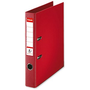 Image of Esselte No. 1 Power A4 Mini Lever Arch Files / Slotted Covers / 50mm Spine / Red / Pack of 10