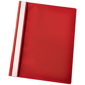 Image of Esselte Report Flat Files / Lightweight Plastic / Clear Front / A4 / Red / Pack of 25