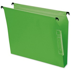 Image of Bantex Flex Kraft Lateral Files / 330mm Width / 30mm Square Base / Green / Pack of 25