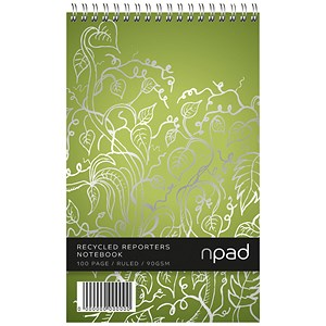 Image of Oxford npad Recycled Wirebound Shorthand Notebook / A5+ / Ruled with Margin / 120 Pages / Green / Pack of 10
