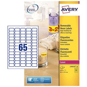 Image of Avery Promotional Laser Mini Labels / 65 per Sheet / 38.1x21.2mm / Neon Yellow / L7651Y-25 / 1625 Labels