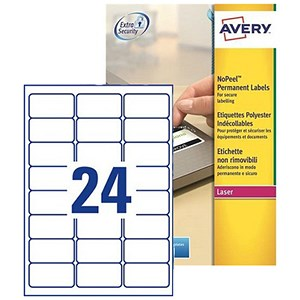 Image of Avery NoPeel Tamper-proof Labels / 24 per Sheet / 63.5x33.9mm / White / L6146-20 / 480 Labels