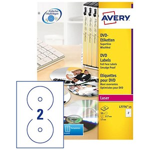Image of Avery Laser CD/DVD Labels / Colour 2 per Sheet / 117mm Diameter / DVD-safe Matt White / L7776-25 / 50 Labels