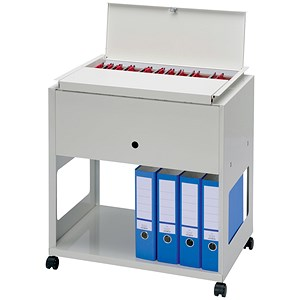 Image of Steel Filing Trolley with Lockable Lid / Capacity: 120 A4 or Foolscap Files / Grey