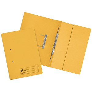 Image of 5 Star Transfer Spring Files / Inside Pocket / 315gsm / 38mm / Foolscap / Yellow / Pack of 25