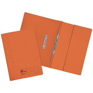 Image of 5 Star Transfer Spring Files / Inside Pocket / 315gsm / 38mm / Foolscap / Orange / Pack of 25