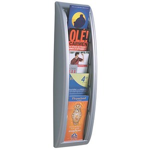 Image of Fast Paper Wall-Mounted Literature Holder / 5 x 1/3xA4 Pockets / Aluminium Silver