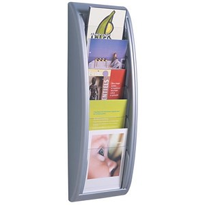Image of Fast Paper Wall-Mounted Literature Holder / 5 x A5 Pockets / Silver