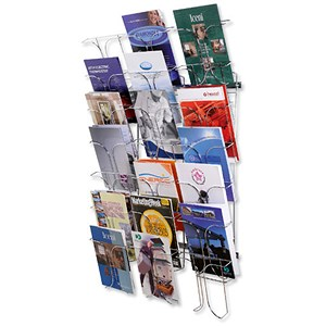 Image of Wall Literature Holder / Wire / 21 Pockets / Chrome