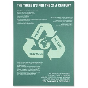 Image of SSeco 3Rs Environmental Poster for Awareness PVC Recycle Reduce Re-use W420xH595mm Ref ENV07
