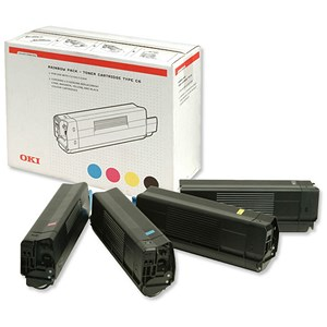 Image of Oki C5300 Laser Toner Cartridge Value Pack - Black, Cyan, Magenta and Yellow (4 Cartridges)