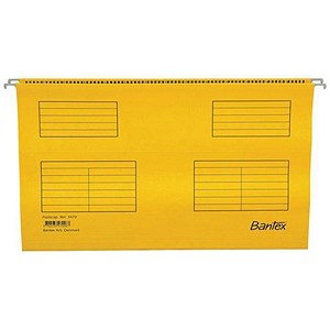Image of Bantex Flex Kraft Suspension Files / V Base / 15mm to Square 30mm / Foolscap / Yellow / Pack of 25