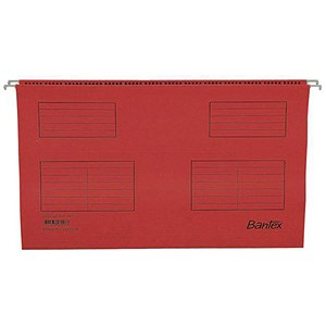 Image of Bantex Flex Kraft Suspension Files / V Base / 15mm to Square 30mm / Foolscap / Red / Pack of 25
