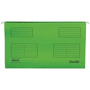 Image of Bantex Flex Kraft Suspension Files / V Base / 15mm to 30mm Capacity / Foolscap / Green / Pack of 25