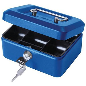Image of Cash Box with Simple Latch and 2 Keys plus Removable Coin Tray 152mm Blue