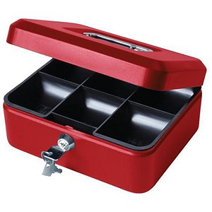 Image of Cash Box with Simple Latch and 2 Keys plus Removable Coin Tray 200mm Red