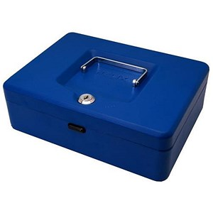 Image of Cash Box with Simple Latch and 2 Keys plus Removable Coin Tray 250mm Blue