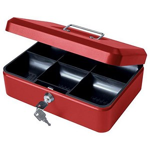 Image of Cash Box with Simple Latch and 2 Keys plus Removable Coin Tray 250mm Red