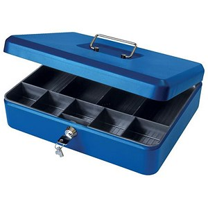 Image of Cash Box with Simple Latch and 2 Keys plus Removable Coin Tray 300mm Blue