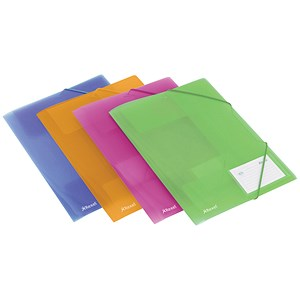 Image of Rexel 4-Fold Ice Files / Polypropylene / Elasticated for 200 Sheets / A4 / Assorted / Pack of 4