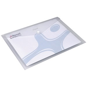 Image of Rexel Ice Wallet Durable Polypropylene / Popper-seal / A4 / Translucent Clear / Pack of 5