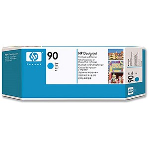 Image of HP 90 Cyan Printhead and Printhead Cleaner