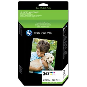 Image of HP 363 Series Photo Value Pack - Includes 6 Cartridges and 150 Sheets of 10x15cm Paper