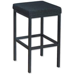 Image of Trexus High Stool with Foot Bar Upholstered Seat W410xD410xH700mm Charcoal