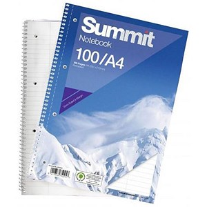 Image of Summit Wirebound Notebook / A4 / Ruled / Punched / Perforated / Margin / 100 Pages / Pack of 10
