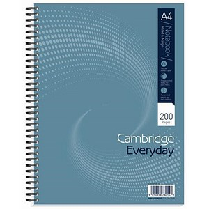 Image of Cambridge Wirebound Notebook / A4 / Punched / Perforated / Ruled / Margin / 200 Pages / Pack of 3