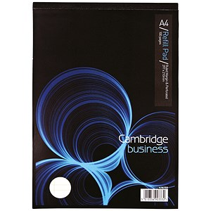 Image of Cambridge Legal Pad / Perforated / Feint Ruled with Margin / A4 / 100 Pages / White / Pack of 10