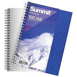 Image of Summit Card Cover Wirebound Notebook / A5 / Ruled / 192 Pages / Pack of 5