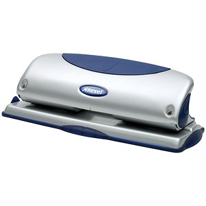 Image of Rexel P425 4-Hole Punch with Nameplate / Blue and Silver / Punch capacity: 25 Sheets