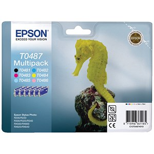 Image of Epson T0487 Inkjet Cartridge Multipack - Black, Cyan, Magenta, Yellow, Light Cyan and Light Magenta (6 Cartridges)