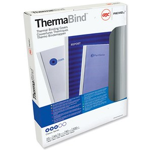 Image of GBC Thermal Binding Covers / 6mm / Front: Clear / Back: Gloss White / A4 / Pack of 100
