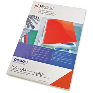 Image of GBC Card Binding Covers / 250gsm / A4 / Gloss Red / Pack of 50x2