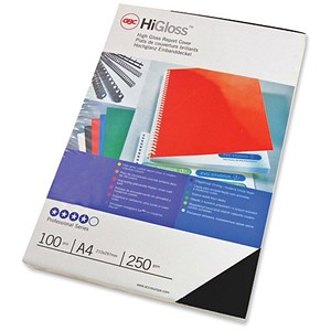 Image of GBC Card Binding Covers / 250gsm / A4 / Gloss Black / Pack of 50x2