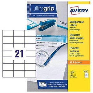 Image of Avery White Multifunctional Labels / 21 per Sheet / 70x42.3mm / White / 3652 / 2100 Labels