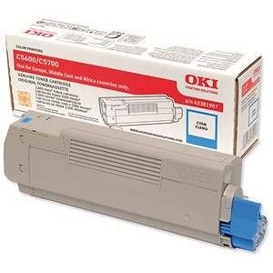 Image of Oki 43381907 Cyan Laser Toner Cartridge