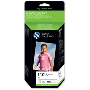 Image of HP 110 Photo Pack - Includes 1 Tri-Colour Cartridge and 140 Sheets of 10x15cm Paper